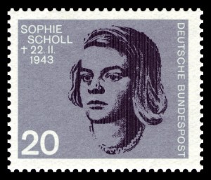 German stamp commemorating student resistance fighter Sophie Scholl