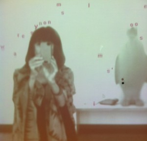 Photo bombed by the penguin at Words Installation at 21c Hotel Museum in Louisville